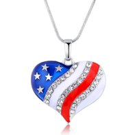 Wholesale Jewelr Wholesalers - 10pcs Lot The American flag Pendant necklaces crystal heart-shaped pendant necklace women Snake Chain jewelry 2017 Jewelr