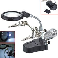 Wholesale Hand Lens Magnifier - 3.5X 12x Adjustable Len Magnifier Solder Iron Stand Lens Magnifier Useful Helping Hand Clip Magnifying Glass With Led Light