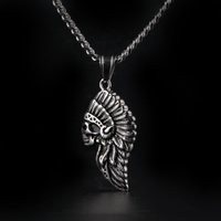 Wholesale Chief Pendant - 2017 Punk Silver Gold Plated Tribal Indian Chief Skull Pendant Vintage Rock Eagle Stainless Steel Native American Hawk Charm Necklace
