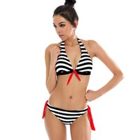 Wholesale Bikini Brazillian - 2017 New Sexy Bikinis Women Swimwear Halter Top Stripe Bandeau Swimsuit Brazillian Bikini Set Bathing Suit Summer Beach Wear