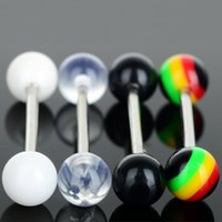Wholesale Fake Labret Piercing - 120 Pcs Punk Style Stainless Steel Tongue Rings Barbell Fake Piercing Jewelry Tragus Ear Cartilage Labret Lip Piercing Jewelry