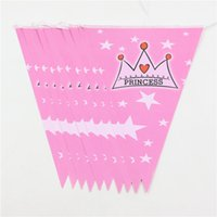 Wholesale- Crown Theme Paper Flags pour Princess Girl Kid Happy Birthday Party / Event Party / Baby Shower Banners Decoration Supplies1set = 10pcs