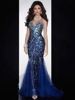 Wholesale Diamond Evening Gowns - Mermaid Sweetheart Low Back Crystals Beaded Sequined Diamond Prom Gown Royal Blue Evening Dresses Women Evening Wear