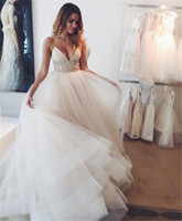 Wholesale White N Pink Wedding Gowns - 2017 N-neck Wedding Dresses beadings Fashion Brides Tiered Skirts Cheap Long Pleated Floor-Length Skirt Bohemian 2016 Spaghetti Bridal Gowns