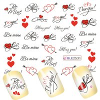 Wholesale Love Heart Nail Tips - Wholesale- 1Sheets Pretty Letter Miss You Printing Love Heart for Nails Tips Decor of Water Transfer Decals Nail Art Sticker BLE2531