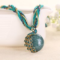 Wholesale Lady Multi Crystal Necklace - Cabochon and Crystal Peacock Pendant Necklace Multi Strands Twisted Glass Beads Choker Necklaces Popular 17 Colors for Lady Free Shipping