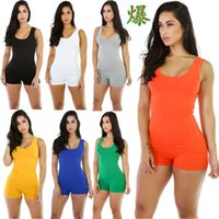 Wholesale Sexy Revealing - Best Sellers European Solid Color Sexy Reveal Back Motion Dress Lin Tai Shorts mini v-neck blue summer romper women