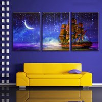 Wholesale Best Art Canvas - Illuminated Wall Art Painting Boat Sailing Under The Moon LED Canvas Canvas Pictures With Lights Best Wall Decor