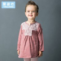 Wholesale Yellow Linen Girls Dress - Yingzifang 2017 Girls Baby Fashion Casual Autumn Long Sleeve V-neck Girls Lace Linen Dresses Long Sleeve Cute Children Clothing girl dress