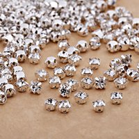 Venda Por Atacado Clear Crystal Sew On Rhinestones Flat Back Diamond Ss12-Ss50 Silver Plated Rhinestones inferiores para DIY Wedding Dress