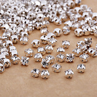Wholesale Diamond Backed Wedding Dress - Wholesale Clear Crystal Sew On Rhinestones Flat Back Diamond Ss12-Ss50 Silver Plated Bottom Rhinestones For DIY Wedding Dress