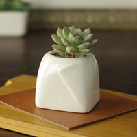 Not Coated square foot ceramics - 5 cm Simple white meat more creative mini small ceramic reliefs round mouth square foot origami bonsai pots