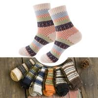 Wholesale Thick Red Wool Socks - Wholesale- 16 Colors Men Women Vintage Striped Totem Winter Socks Teenager Merino Wool Socks Rabbit Wool Thick Thermal Socks Art For Male