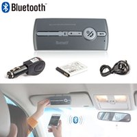 Wholesale Bluetooth Multipoint Speakerphone Car Kit - Wholesale-Bluetooth Handsfree Car Kit Speakerphone Sun visor Clip with Car Charger Multifunctional Multipoint Music Auto Speaker Phone