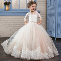 Wholesale Little Girls Pageant Dresses Rhinestones - 2017 Puffy Kids Prom Graduation Holy Communion Dresses Half Sleeves Long Pageant Ball Gown Dresses For Little Girls Glitz
