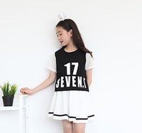 Wholesale Casual Mini Skirt Outfits - 2017 new arrival big girls sports skirts 2pc set letters print short T shirt and skirt junior's casual sporting outfits for 6-13T hug