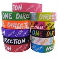 Wholesale One Direction Wrist Bands - Wholesale- 3 4 inch wide One Direction wristband silicone bracelets rubber cuff wrist bands bangle free shipping