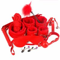Wholesale Leather Sex Gags - 7pcs set Restraint Cabala Leather Sex Games BDSM Sex Toys Slave game Sexy Womenizer Erotic Toys Handcuffs Gag Sex Toys for couples 3105003