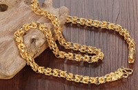Wholesale Singapore Fines - Fine JEWELRY 18K Real Gold Mans Necklace Rock Style Dragon Heads Mens Friendship Fashion Jewelry Chunky Link Chain