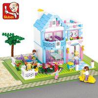 Wholesale Enlighten Girls - Sluban Building blocks 539Pcs action figure Enlighten Brick Educational DIY Pink Dream Series girl Villa Toys for children