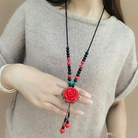 Wholesale Pole Cross - National wind flower sweater chain paint carved roses necklace red cinnabar hanging long tassels