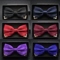 Wholesale Gold Bow Ties For Men - Red bow tie for men wedding black butterfly ties mens business and party gold yellow navy blue man bowtie metal angle decoration