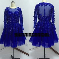 Wholesale Mini Flowers Royal Blue - Real Picture Prom Dresses Gowns Sheer Crew Neckline Lace Hand Made Flowers 3D A Line Long Sleeve Royal Blue Cocktail Dresses