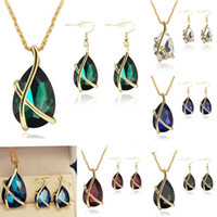 Wholesale Peacock Diamond Necklace - CZ Diamond Jewelry Set Water Drop Crystal Pendant Earrings Necklace Set Bridal Wedding Jewelry Women Prom Party Accessories