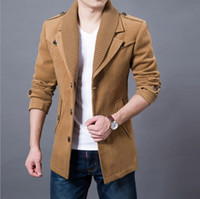 Wholesale Men Fashion Wool Coats - 2016 Business Men Casual Warm Coats Size M-3XL Good Quality Single Breasted Design Thicken Man Fashion Wool Clothings