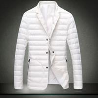 Wholesale Down Coat Men S Lightweight - Wholesale- Lightweight Men Down Jackets mens suit jacket Slim down blazer jacket white coat turn down collar Ultralight Parka Men