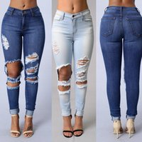 Wholesale Recycled Acrylic - Good A++ Bursts of holes jeans women Slim thin legs pencil pants elastic jeans JW021 Women's Jeans