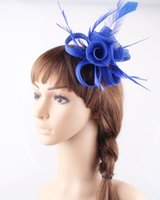 Wholesale Purple Yellow Hair Combs - Free shipping 17 colors Bridal sinamay material fascinators wedding headpiece cocktail headwear bar hat suit for all season 6Pcs lot MYQ022