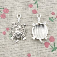 silver plate turtle charms wholesale Australia - 36pcs Charms tortoise turtle sea 34*28mm Antique Silver Pendant Zinc Alloy Jewelry DIY Hand Made Bracelet Necklace Fitting