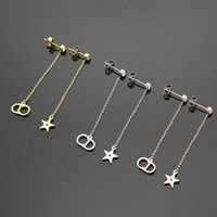Wholesale Hanging Gold Star - New arrival 316L Titanium steel punk dangle earring CD and star letters hanging star stud women jewelry gift free shipping PS5733