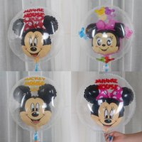 Wholesale Double Foil - Cute Cartoon Clear Cartoon Mickey Minnie Aluminum Foil Balloons Inflatable Double Layer Balloons Wedding Party Supplies