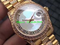 Wholesale Yellow Gold Pearl Bracelet - Luxury Brand Classic Yellow Golden Pearl shell Automatic Day-date Men's Watch Black Roman numerals Steel with Diamond Bracelet Wristwatches