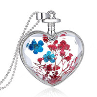 Wholesale Red Flower Nature Wholesale - Wholesale-nature red blue dry flower necklace for women gift silver plated long chains cute dry flower pendant necklaces jewelry wholesale