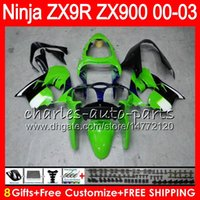 Wholesale Kawasaki Zx9r Fairings - 8Gifts 23Colors For KAWASAKI NINJA 900CC ZX9R 00 01 02 03 40NO47 green black ZX-9R ZX900 ZX 9 R ZX900C ZX 9R 2000 2001 2002 2003 Fairing kit