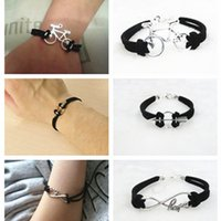 Wholesale Leather Dragon Bracelet - Wholesale- New Fashion Black Leather Velvet Bracelets For Women Men Simple Dragon Bicycle LOVE DREAM Charm Bangle & Bracelet jewelry