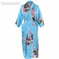 Wholesale Kimono Chinese Wedding Dress - Wholesale- Chinese Women Satin Long Nightgown Sleepwear Bridesmaid Wedding Robe Dress Print Kimono Bath Gown Plus Size S M L XL XXL XXXL