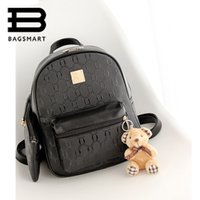 Wholesale Multifunctional Style Women Backpack - Wholesale- BAGSMART 2016 Cute Backpack With Coon Multifunctional Women's Backpack 3157 Leather Backpack Black Backpacks For Teenage Girls