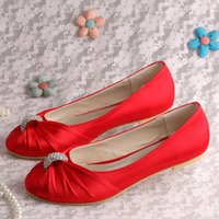 Slip-On blue dressy shoes - Colors Custom Handmade Dressy Flat Shoes for Women Wedding Red Satin Plus Size