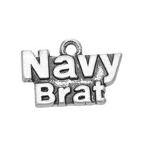 Liga de zinco Antique Silver Plated Letter Navy Military Series Charms Jewelry Findings Pendant Charms For DIY Making