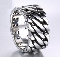 Wholesale 316l S Steel - B144 high quality trade jewelry wholesale European and American locomotive style explosion models 316L titanium steel men 's chain rings