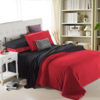 Wholesale Children Bedlinen - 4 Pieces Set red black Solid Bedding Sets Duvet Cover Flannel Home Textiles Warm Bedlinen 3D Reactive Printing Beds Sheet Set