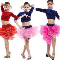 Wholesale Girls Latin Dance Costume - Latin Dance Dress For Girls Rose Blue Kids Dance Costume Dress Children Latin Dance Dresses Long Sleeve Stage Dancewear costumes