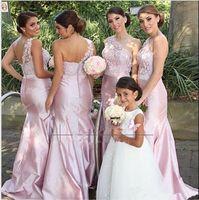 vestido de boda de tafetán rosa sirena al por mayor-2017 Barato africano sin respaldo rosa un hombro sirena vestidos de dama de honor de encaje se ruborizan tafetán rosa del banquete de boda vestidos formales