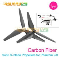 Wholesale Diving Carbon - Wholesale- 1 Pair Phantom 3 9450 Carbon Fiber Propellers Self-tighten 3-blade Props 9.4*5.0 for DJI Phantom 2 3