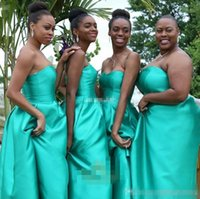 Wholesale Turquoise Ankle Length Dress - .Arabic Style Teal Bridesmaid Dresses With Pockets Turquoise Satin Plus Size 2016 Negerian African Wedding Guest Maid of Honor Party Gowns