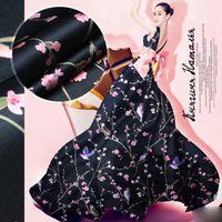 organza de seda negra al por mayor-135 cm de ancho 14 mm estampado floral rosa tela de organza de seda rígida negro para camisa de vestir ropa pantalones D329